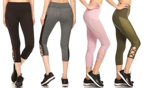 Pink Mint Women's Activewear Capris with Mesh Panel and Strap Details