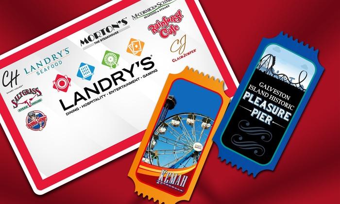 Landry's, Inc. - Multiple Locations: eGift Card to Landry's Restaurants, Plus Two All-Day Ride Passes to Galveston Pleasure Pier or Kemah Boardwalk