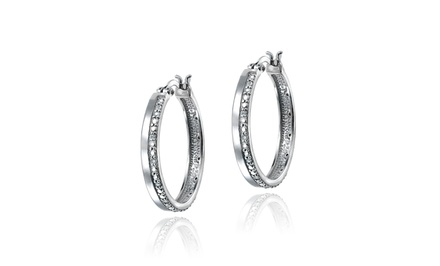 1/4-Carat Diamond and Silver Hoop Earrings