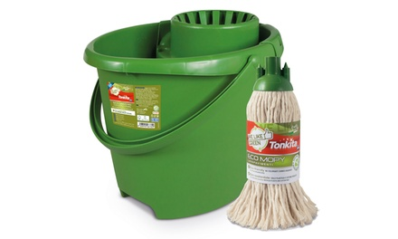Set Eco secchio e strizzatore Tonkita con mop in cotone green