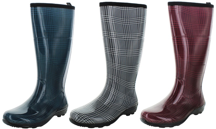 Kamik Checks Women's Waterproof Plaid Rain Boots