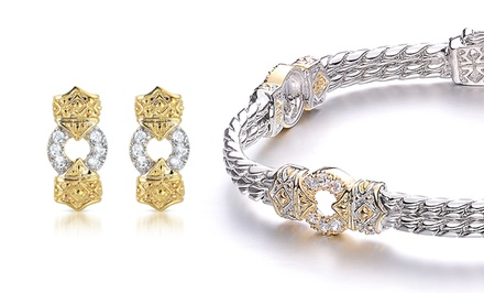1.53 CTTW Diamond Bracelet with 2-Tone Platinum- and 18K Gold-Plated Band or 0.78 CTTW Diamond 2-Tone Earrings