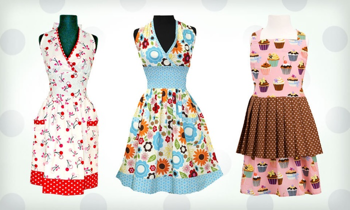 Retro-Inspired Aprons: Retro-Inspired Apron (Up to 58% Off). 12 Options Available. Free Returns.