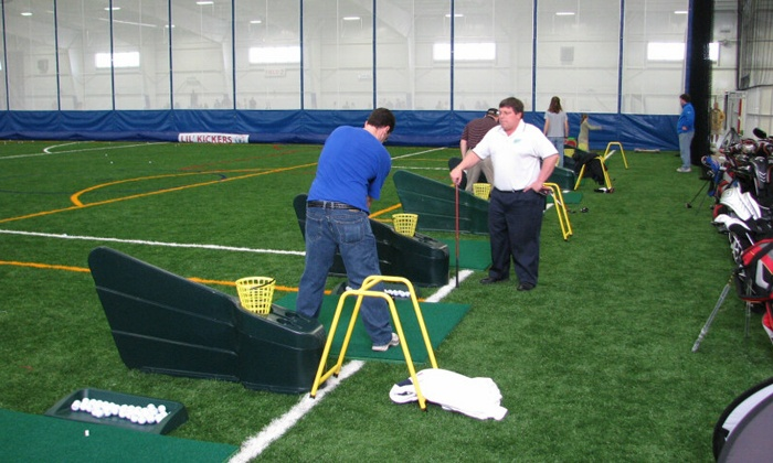 Fore Kicks Sports Complexes  - Multiple Locations: 5 or 10 BucketPunch Card forIndoor-Driving-Range Balls(Up to 54% Off)