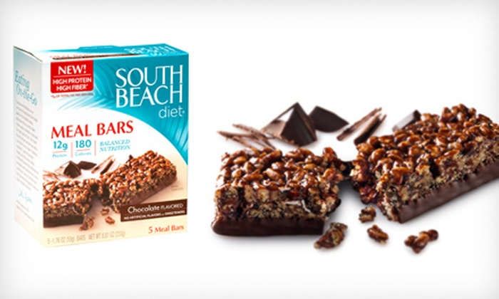 South Beach Diet Meal Bars: $19 for Eight Five-Bar Boxes of South Beach Diet Meal Bars in Chocolate or Chocolate Peanut Butter ($63.92 List Price)