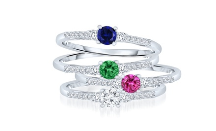 Stackable Platinum-Plated Sterling Silver Gem Rings with Simulated Diamonds. Multiple Styles Available.