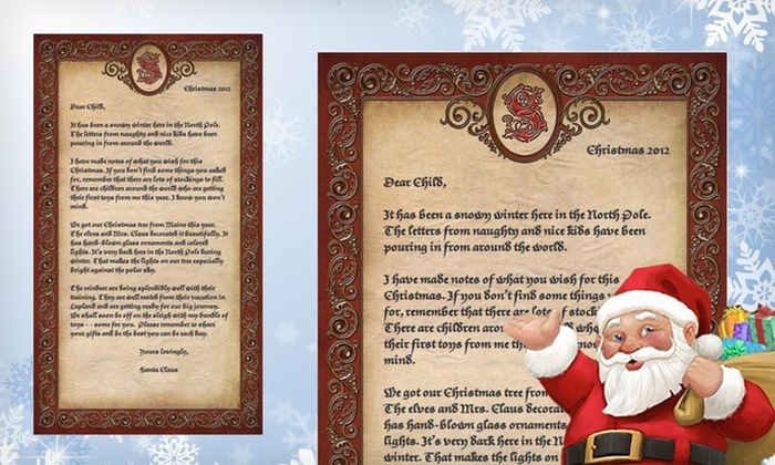 Letter from Santa from Santa.com: $10 for a Letter from Santa from Santa.com ($20 List Price). Free Shipping.