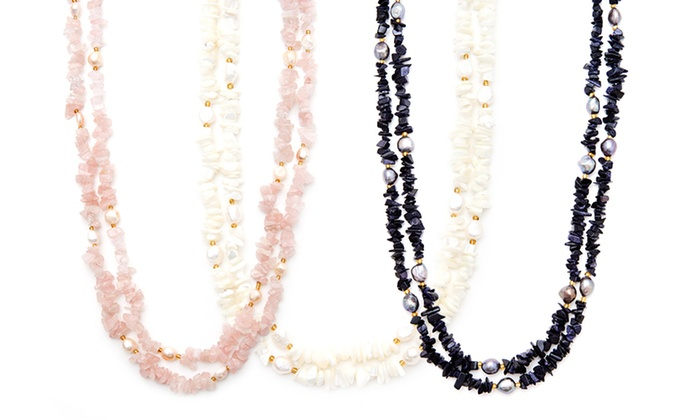 60-Inch Pearl and Semi-Precious Stone Necklace: 60-Inch Pearl and Semi-Precious Stone Necklace. Multiple Options Available. Free Shipping and Returns.