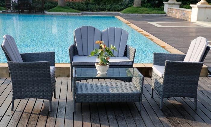 Magnificent 4 Piece Pe Rattan Furniture Set Groupon Home Interior And Landscaping Ologienasavecom