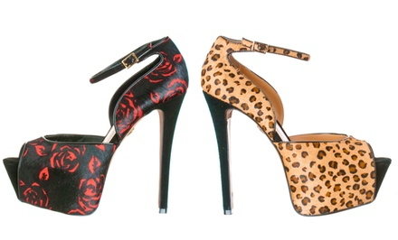 Betsey Johnson Peep-Toe Platform Pumps in Black/Red or Leopard. Free Returns.