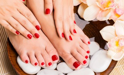 image for Shellac on Hands and Spa Pedicure at Q And M Hair And Beauty Salon (49% Off)