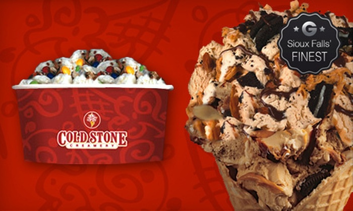 Cold Stone Creamery Sioux Falls - Sioux Falls: Ice Cream and Frozen Treats at Cold Stone Creamery Sioux Falls (Half Off). Three Options Available.