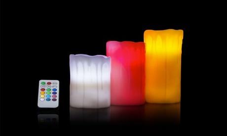 Set de 3 velas led lisas o con efecto goteo