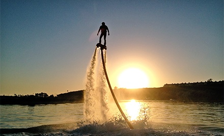 60 min water-powered jetpack flight experience with video footage for four people
