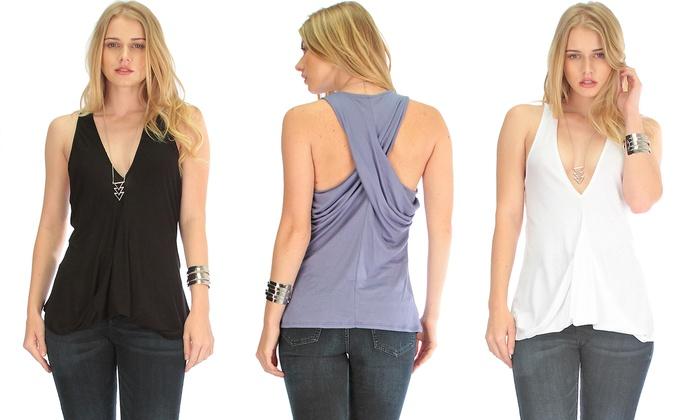 Lyss Loo Women's Twist-Back Tank Top