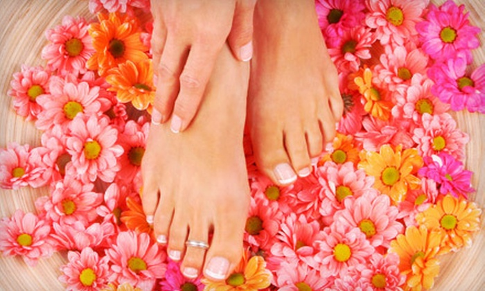 LMZ Nails & Spa - Auburndale: Shellac Manicure and Traditional Pedicure with Optional Waxing at LMZ Nails & Spa (Up to 57% Off)