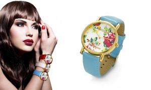Wristwatch With Floral Print