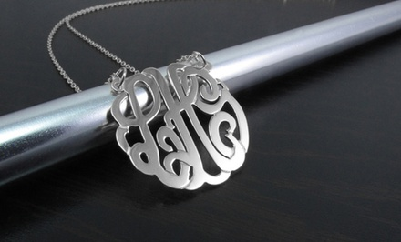 Personalized Sterling Silver Monogram Pendant from Name Jewelry Spot
