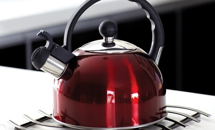 groupon daily deal - 2.5QT Stainless Steel Whistling Tea Kettle. Multiple Colors Available. Free Returns.