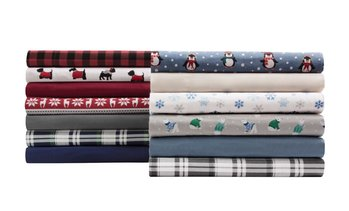 100% Cotton Winter Nights Flannel Sheet Set (3- or 4-Piece)
