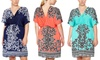 Plus-Size V-Neck Print Dress with Tie: Just Love Short-Sleeved V-Neck Print Dress in Plus Sizes   Brought to You by ideel