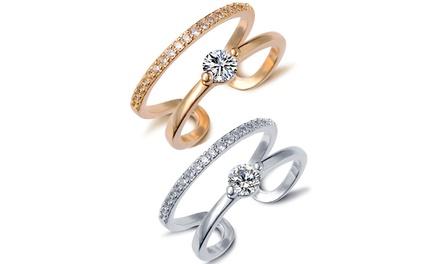 Sayma-Ring mit Kristallen von Swarovski® verziert in Silber oder Gold (57% sparen*)