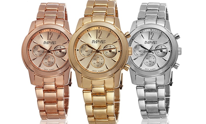 August Steiner Women's Bracelet Watch: August SteinerWomen's Quartz Multifunction Bracelet Watch in Gold, Rose, or Silver Tone. Free Returns.