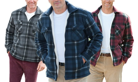 Men's Padded Fleece Lined Check Shirt for £17.99