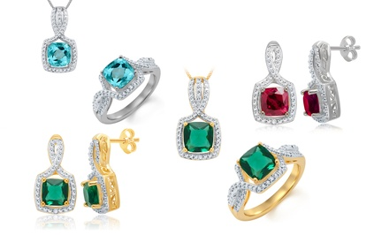 Ring, Earrings, and Pendant Set with Accent Diamonds and Created Gemstones