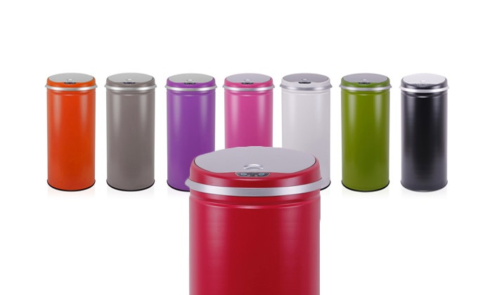 Poubelle automatique color e capacit 42 l groupon shopping for Poubelle cuisine blanche
