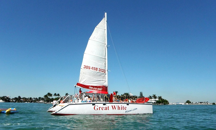 Great White Catamaran - Brickell: Four Hours of Watercraft or Nonmotorized Beach Rentals from  Great White Catamaran (Up to 51% Off)