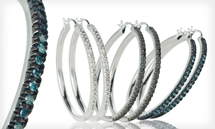 Diamond Hoop Earrings: Silver-Plated Hoop Earrings with Black, Blue, or White Diamonds (Up to 79% Off). Free Shipping.