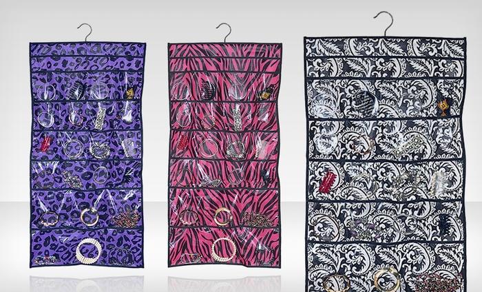 Hanging Jewelry Organizer: Hanging Jewelry Organizer in Black Damask, Pink Zebra, or Purple Leopard Print. Free Returns.