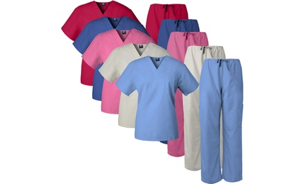 Medgear Unisex Chest Pocket Top and Cargo Drawstring Pants Scrub Set
