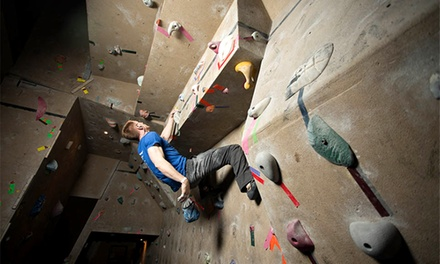 Climbing and Belaying Package or Five-Visit Indoor Rock-Climbing Pass at Emerald City (Up to 52% Off)
