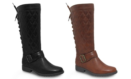 AXNY Graham Women's Quilted Riding Boots in Brown or Black