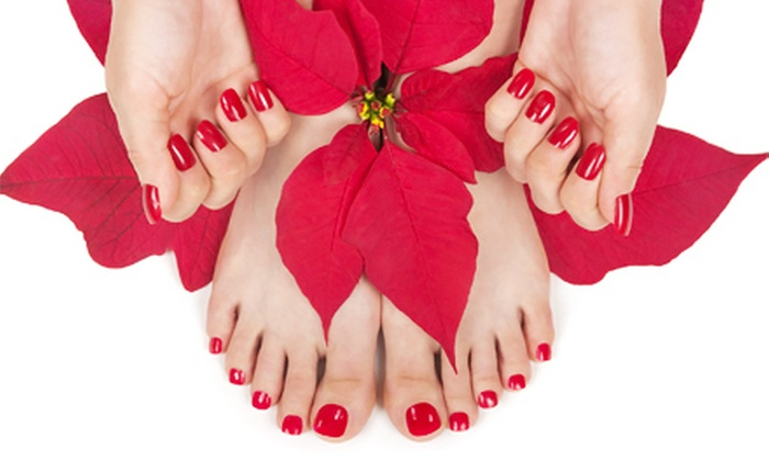 L'amour Nails - Constellation Pointe: Royal Verbena OPI Manicure or Pedicure with Paraffin, or Both at L'amour Nails (Up to 55% Off)