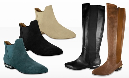 ABS by Allen Schwartz Women's Flat Leather Knee-High Boots or Flat Suede Booties from $76.99–$109.99. Free Returns.