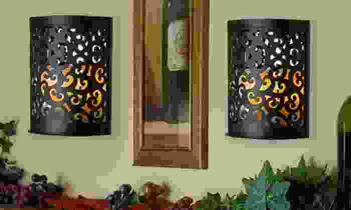 Etched Sconce with Flameless Candle: Etched Sconce with Flameless Candle. Multiple Colors Available. Free Returns.