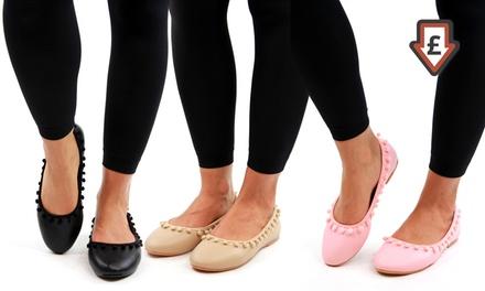 Pom-Pom Ballet Flats