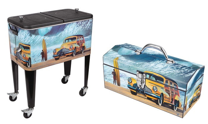 Decorative 60qt. Patio Cooler And Matching Toolbox | Groupon