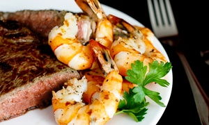 The Waterfront Grill & Pizzeria: Upscale Surf n' Turf Dinner for Two or Four at The Waterfront Grill & Pizzeria (Up to 48% Off)