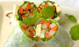 Happy Veggie: Vegetarian Food for Dine-In or Takeout at Happy Veggie (Up to 43% Off). Three Options Available.