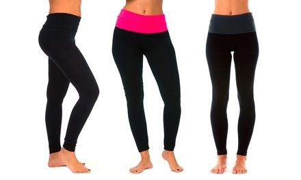 Women's Rollover Waistband Yoga Leggings (3-Pack)