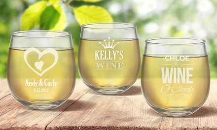.99 for a Personalised Stemless Wine Glass Don't Pay up to $239.92