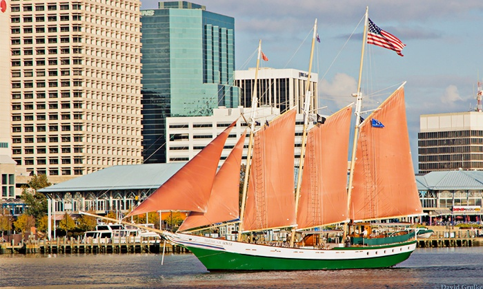 """American Rover - Waterside Marina: Two-Hour Harbor or Sunset Cruise for Two from """"American Rover"""" (Up to 50% Off)"""
