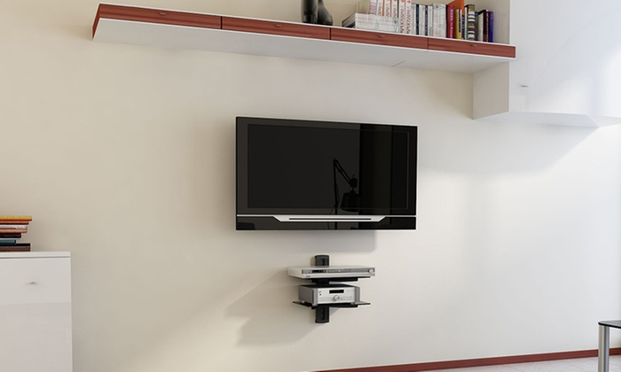 Argom tv wall mount shelves groupon goods for Wall cabinets for tv components