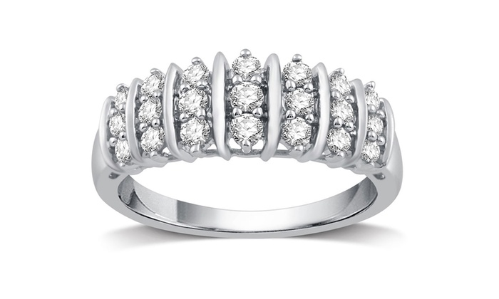 Groupon 1 2 Cttw Genuine Diamond Fashion Band In Sterling Silver By Decarat