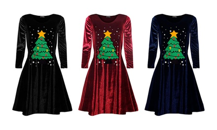 Velvet Christmas Swing Dress