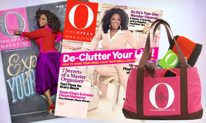 """""""O, The Oprah Magazine"""" Subscription: $10 for a One-Year Subscription to """"O, The Oprah Magazine,"""" Plus an Oprah Tote Bag ($18 Value). Shipping Included."""
